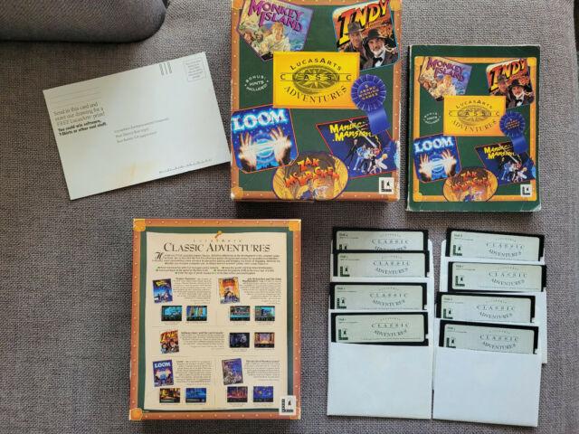 "LucasArts Classic Adventures (PC, 1992) Complete CIB 5.25"" Floppy Disks"