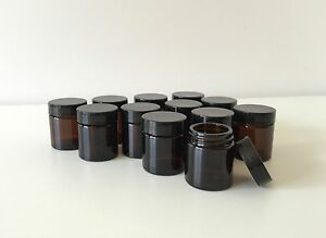 12-x-30mL-Amber-Glass-Jars-with-Black-Lid-for-Aromatherapy-Cosmetic-Cream