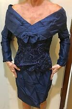 Vintage 80's  Scott McClintock Dark Blue Evening Dress Long Sleeve Size 4
