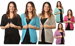 New-Ladies-Women-s-Mesh-Knitted-Short-Sleeves-Cardigans-Tops-Jumpers-Plus-Sizes