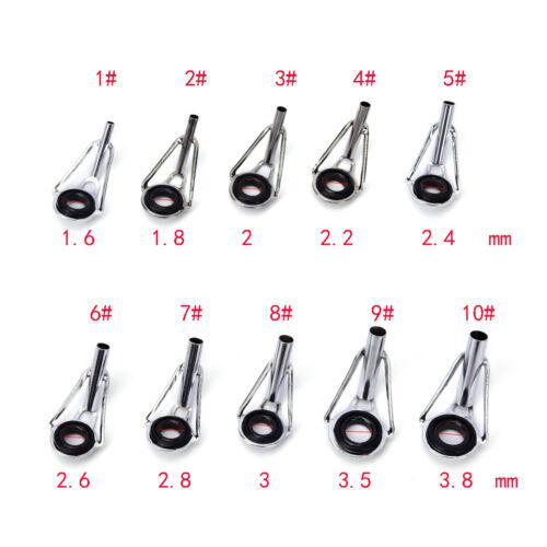 80 stücke 10 Größen Stahl Angelrute Pole Guide Tip Top Ring Auge Reparatur K rz
