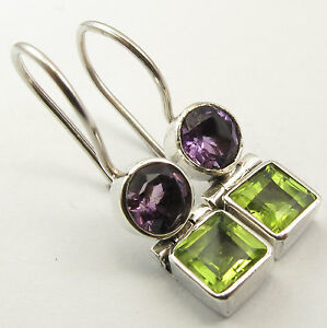 925-Silver-Genuine-AMETHYST-amp-PERIDOT-Earrings-1-inches-SEMI-PRECIOUS-GEMSTONE