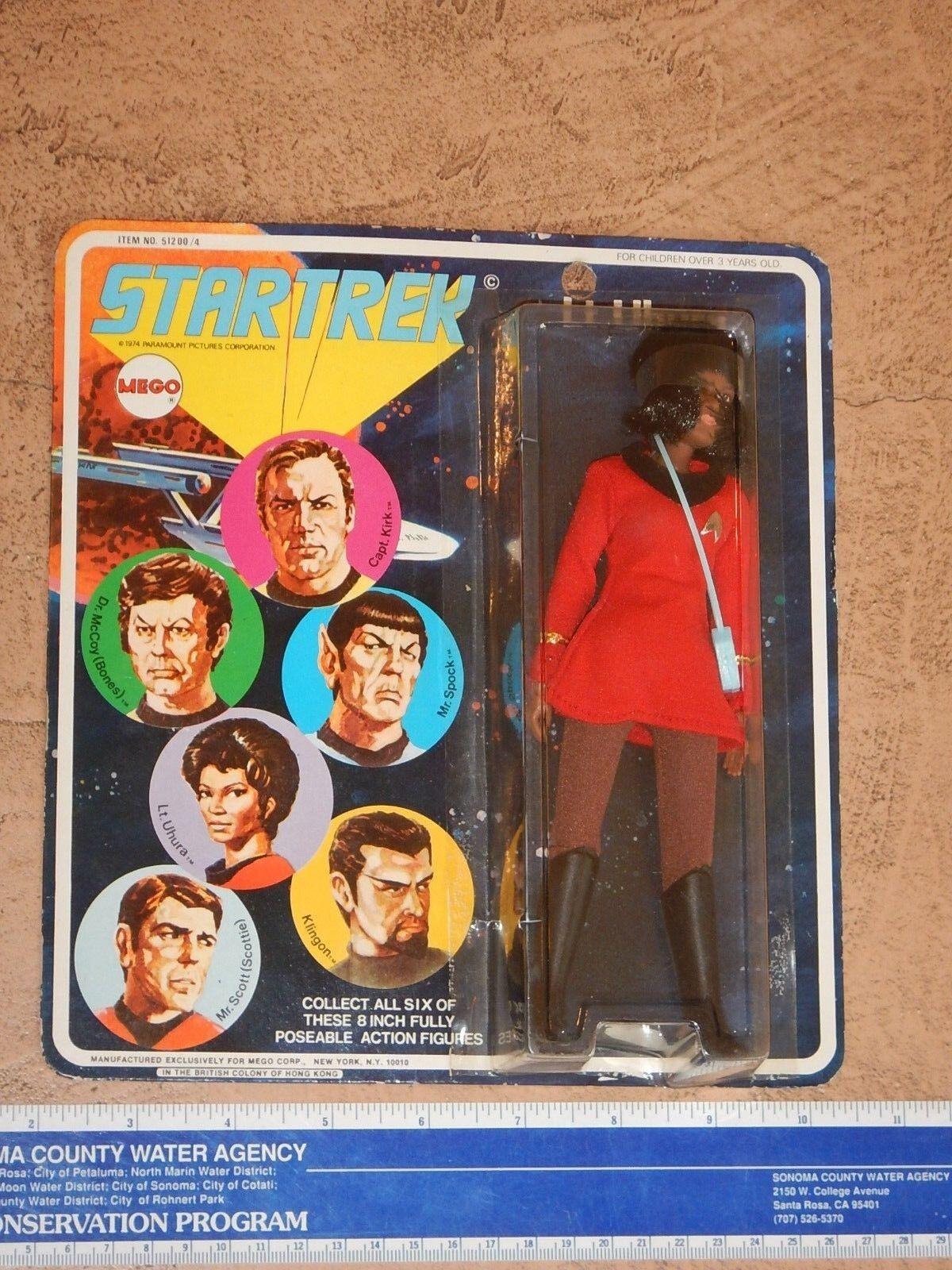 ORIGINAL 1974 MEGO STAR TREK LT. UHURA ACTION FIGURE, NOS FACTORY SEALED ON CARD