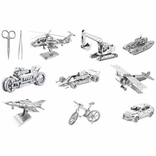 9 verschiedene Modelle und Werkzeug Playtastic 10er-Set 3D-Bausätze aus Metall