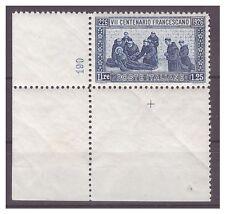 REGNO 1926  -  SAN FRANCESCO Lire 1,25     NUOVO  **  NUMERO DI TAVOLA