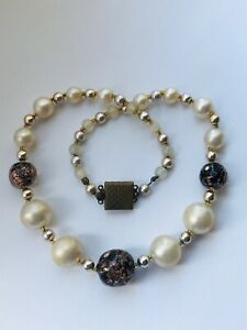 Choker Necklace Faux PEARL & Glass