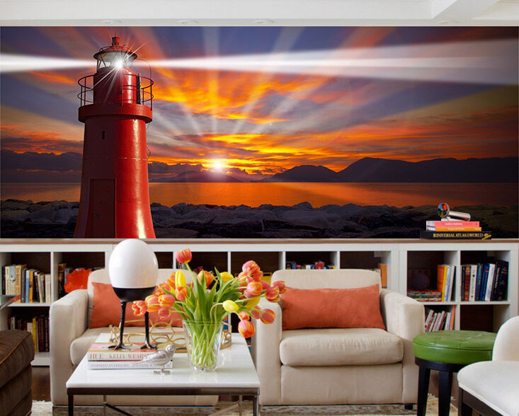 3D Sunset Tower 773 Wall Paper wall Print Decal Wall Deco Indoor wall Mural