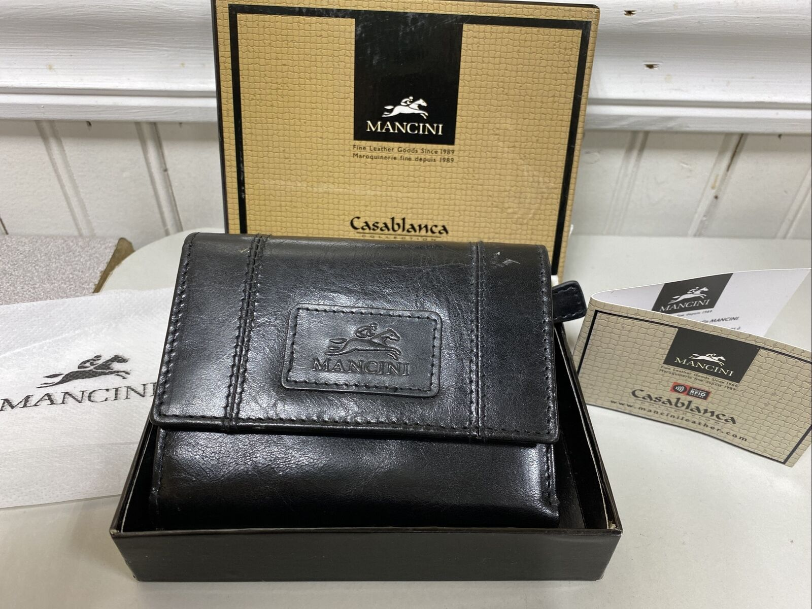 MANCINI Casablanca Collection Black Leather Wallet Tri-Fold, RFID, NEW
