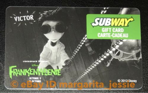 SUBWAY CANADA FRANKENWEENIE SPARKY VICTOR GIFT CARD LOT OF 2 NO VALUE NEW 2012