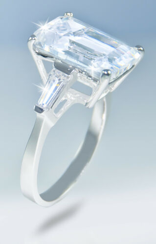 8 ct Emerald Cut Ring W// Bag Top Russian Quality CZ Extra Brilliant   9