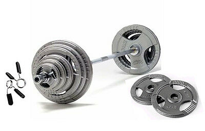 """57.5KG Olympic Barbell Tri-Grip Plate Set, Iron Weight Discs, 7ft 2 Bar(320kg)2"""""""
