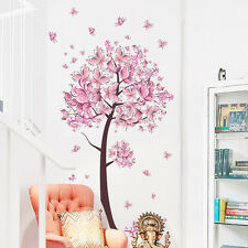 Pink Flower Butterfly tree Living Room Wall Sticker Decal Girl Art Bedroom decor