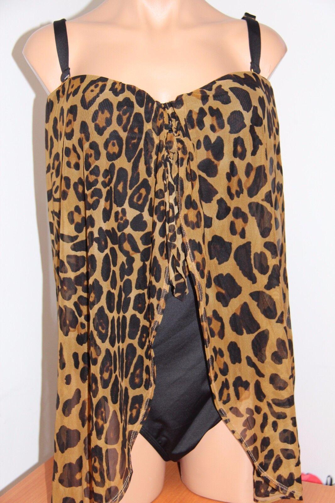 NWT Ralph Lauren Swimsuit Bikini 1 piece Fly Away Plus Size 20W BRO Leopard