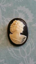 Old Antique/Vintage Cameo Brooch Pin- Ivory on Black Carved Resin on Brass EVC!