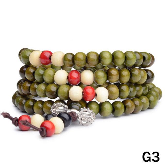 HOT Sandalwood Buddhist Meditation 6mm 108 Prayer Bead Mala Bracelet Necklace G3