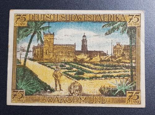 GERMAN COLONY SOUTH-WEST AFRICA 75 PFENNIG 1921 *SWAKOPMUND* BANKNOTE 9432