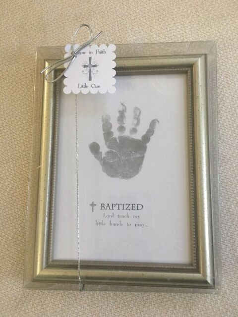 The Grandparent Gift Co. Growing in Faith Handprint Frame Baby ...