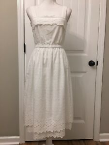 7c26d0597bf7 Image is loading Madewell-Eyelet-Tiered-Midi-Dress-White-Sz-4-