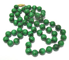 "GENUINE MALACHITE BEAD NECKLACE STRING STRAND 28"" LONG"