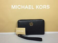 NWT Michael Kors MK Black Leather Flat Multifunction Phone Case Wallet Wristlet