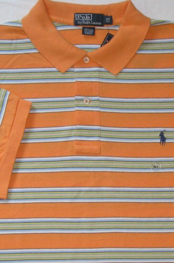 New  Polo Ralph Lauren orange Striped Cotton Mesh Polo   Big 2X