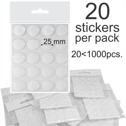"""25mm 1/"""" Inch Clear Epoxy Resin Dome Stickers Self Adhesive Bottle Caps cabochon"""