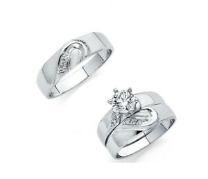 14K-White-Gold-Hearts-Simulated-Diamond-Trio-Wedding-Band-Solitaire-Ring-Set