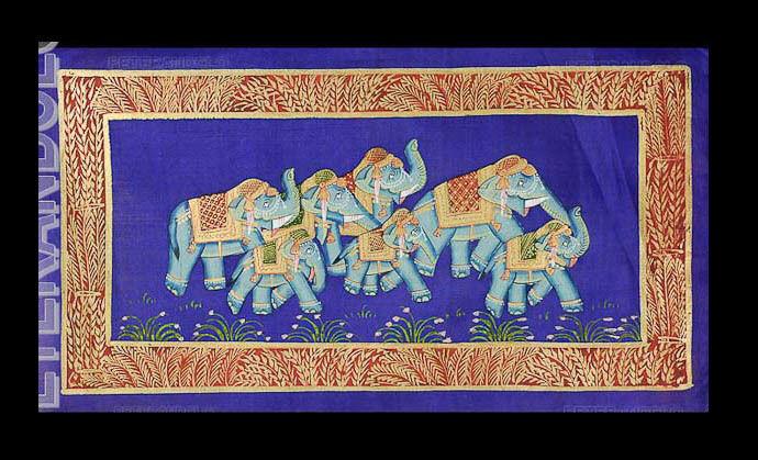 Tapiz Mural Pintura Mughal en Seda Arte Elefante India 39x20cm C17 1215