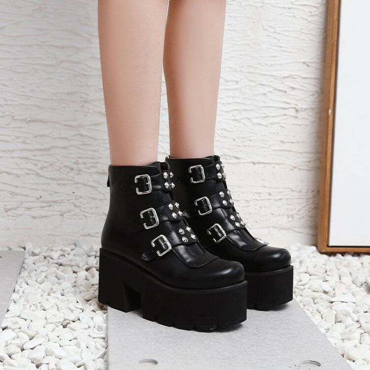 femmes Fashion Punk Buckle Straps Platform Chunky Heel Ankle bottes chaussures XUNL