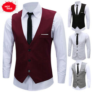 Men-039-s-Formal-Business-Slim-Fit-Chain-Dress-Vest-Suit-Tuxedo-Waistcoat-US-Stock