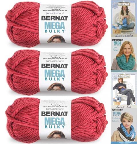 3 Pack Bundle Bernat Mega Bulky Yarn 7.0 Ounce Light... Jumbo #7 Acrylic