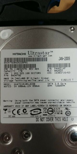 0F10402 Hitachi A7K1000 HUA721010KLA330 1TB SATA Internal 7200RPM 3.5/""