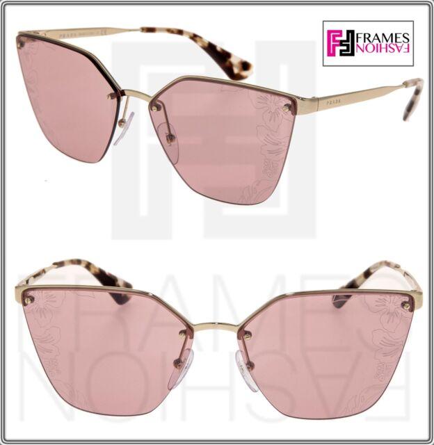 c871ea32b PRADA CINEMA FLOWER Hibiscus Sunglasses 68T Gold Pink Cat Eye PR68TS  Authentic