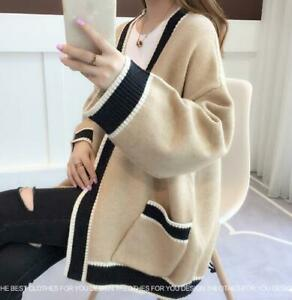 Women-039-s-Chic-Loose-Knit-Cardigan-Korean-V-Neck-Sweater-Coat-Lazy-Pocket-Tops