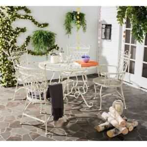 wrought iron wicker outdoor furniture white. Image Is Loading Patio-Table-and-Chairs-Set-5-Wrought-Iron- Wrought Iron Wicker Outdoor Furniture White