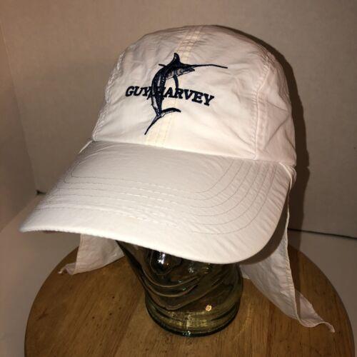 Vintage GUY HARVEY Original White Hat Cap Neck Cap