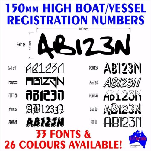 2x150mm Boat Tinny REGISTRATION rego numbers letters marine grade decal stickers