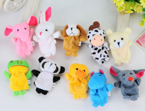 10Pcs Animal Finger Puppet Soft Plush Baby Educational Hand Cartoon Toys PopSTUK