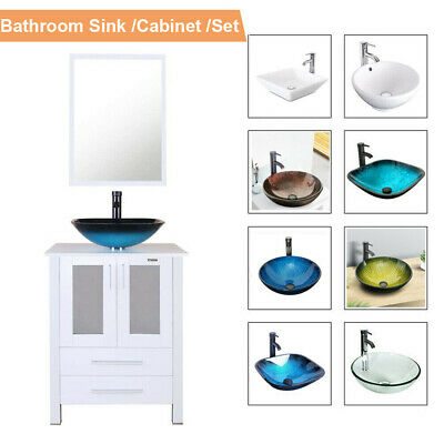 "24/"" White Bathroom Vanity Mirror Cabinet Set Vessel Glass Ceramic Sink Faucet US"