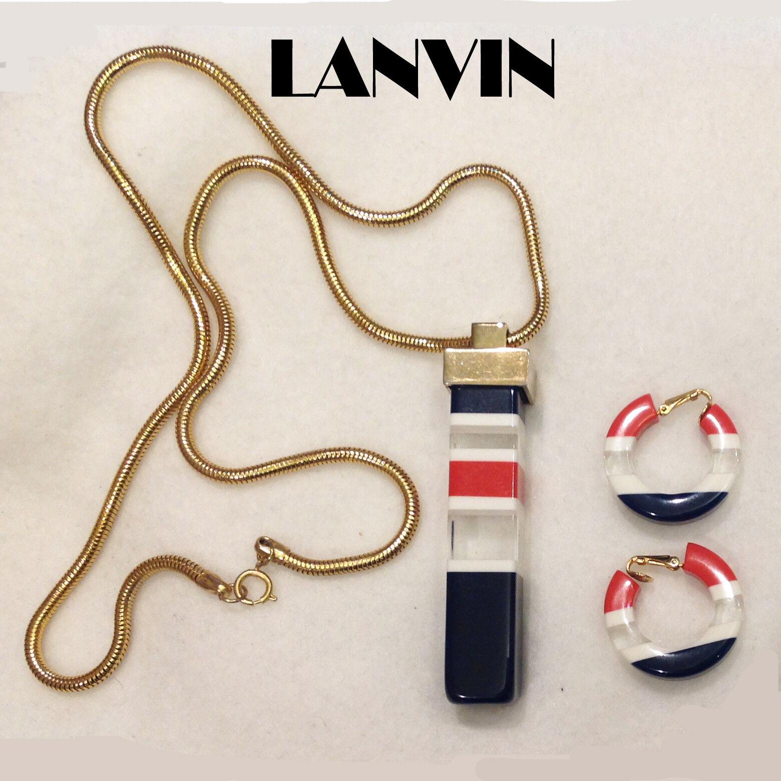 Vintage Lanvin Lucite Necklace Clip Earrings Set … - image 2