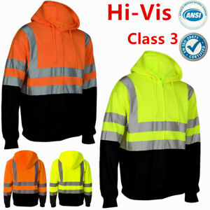 High Visibility Hooded Sweatshirts Zipper ANSI Class 3 Safety Fleece Workwear