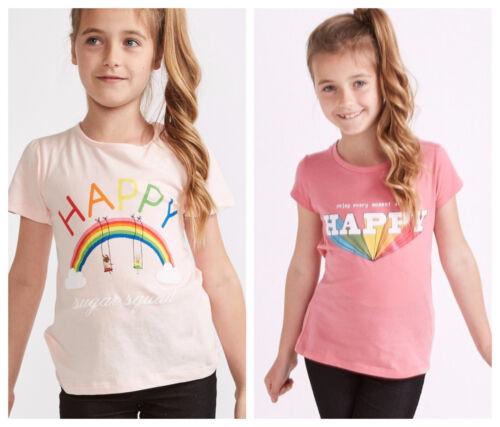 Filles Arc-en-à Manches Courtes T-shirt Kids Rose Top Sucre Squad Tee 2-8 Ans Neuf