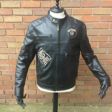 Jack Daniels Black Leather Motorcycle Biker Jacket - Large