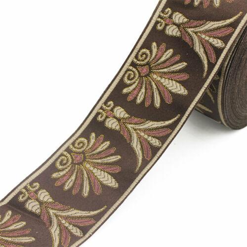 5//10 Yard Wide 6cm Vintage Floral Silk Braid Jacquard Ribbon Trim Embroidery