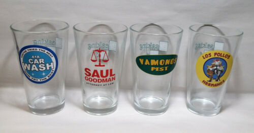 BREAKING BAD PINT SIZED BEER GLASS TV SHOW TOTAL OF 4 BOXED SET
