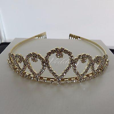 Fornito Pendente Argento O Oro Colore Tiara, Matrimonio, Prom, Concorso Regina Nuovi Grip-mostra Il Titolo Originale