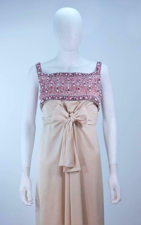 GIVENCHY COUTURE Circa 1960s Nude Gown w/ Beaded … - image 3