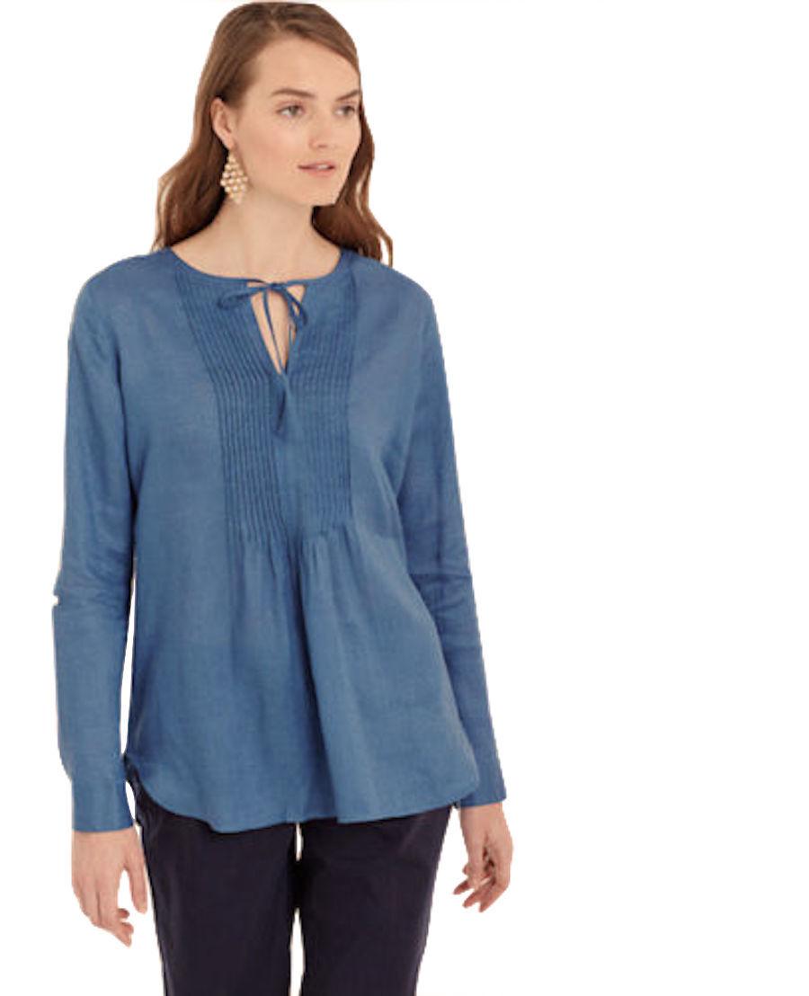 Ann Taylor - Women's S - NWT - bluee Pleated Bib Linen Peasant Blouse Top