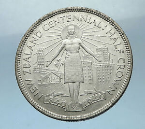 1940-NEW-ZEALAND-100th-Anni-under-UK-King-George-VI-Silver1-2-Crown-Coin-i68513