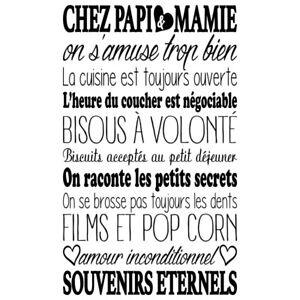 Détails Sur Sticker Mural Texte Chez Papi Mamie 50x30cm à 100x60cm Tex008